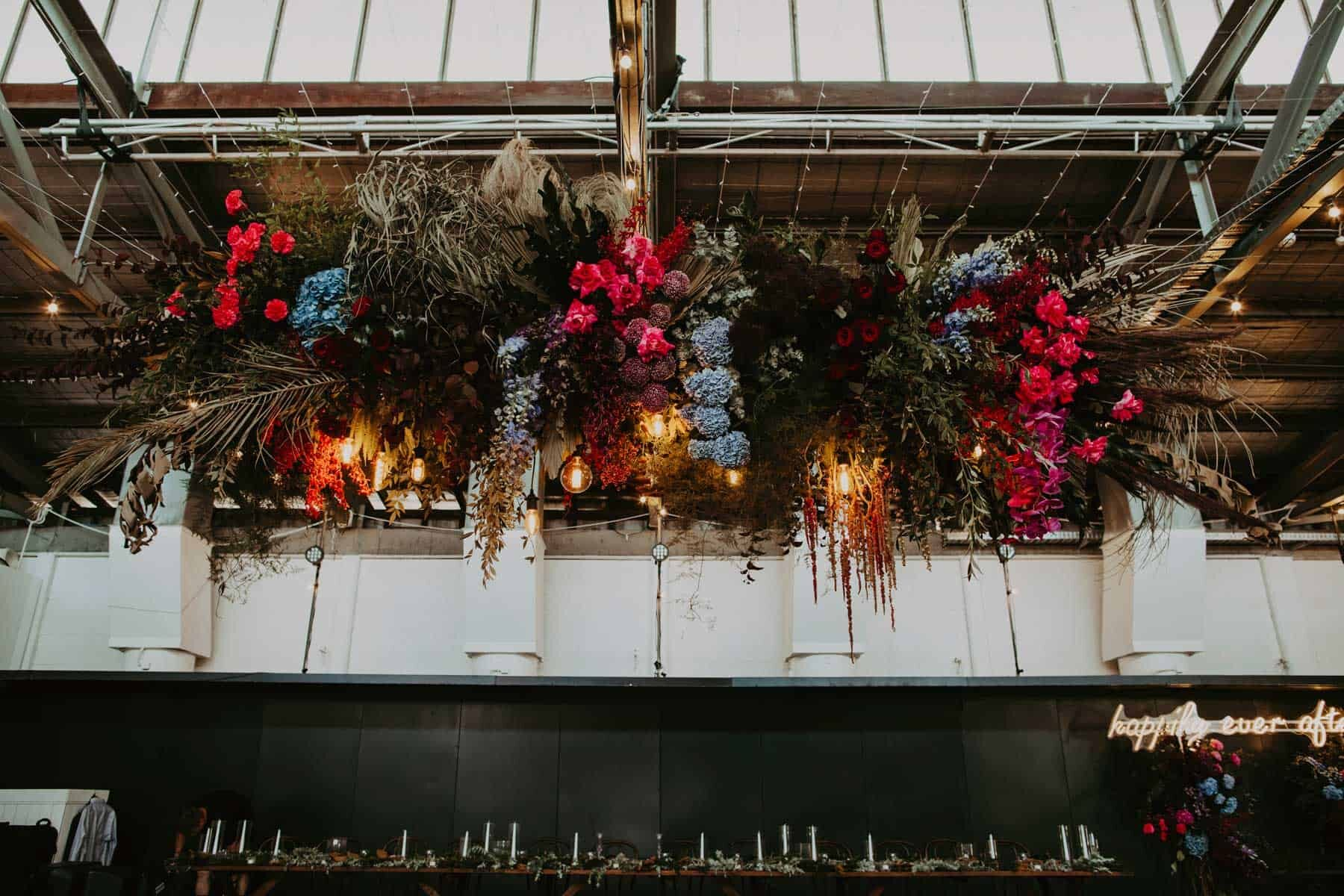 jewel-toned floral installation