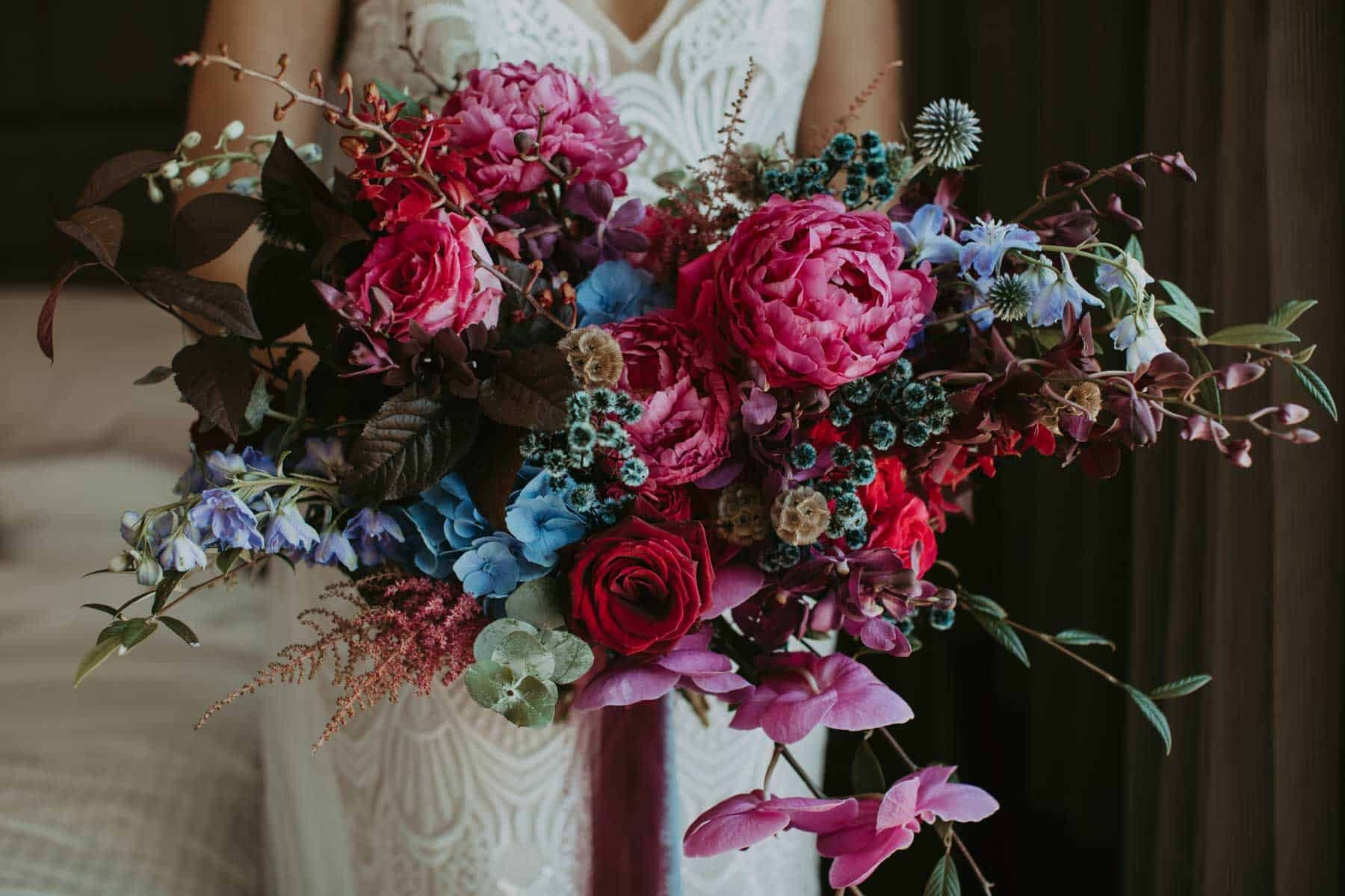 unstructured jewel-toned bridal bouquet