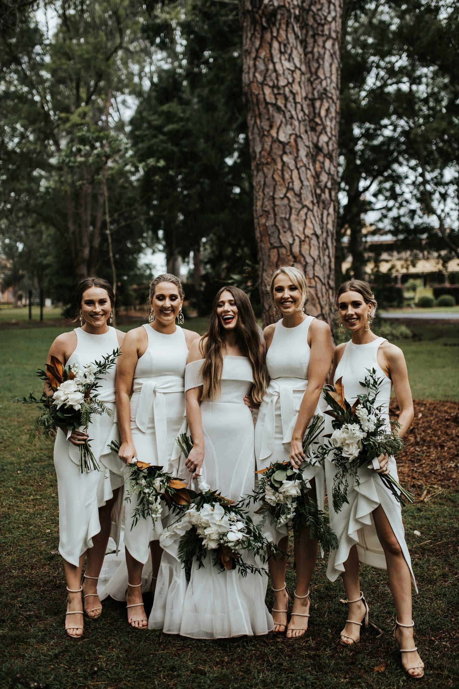 modern and simple all-white bridesmaids