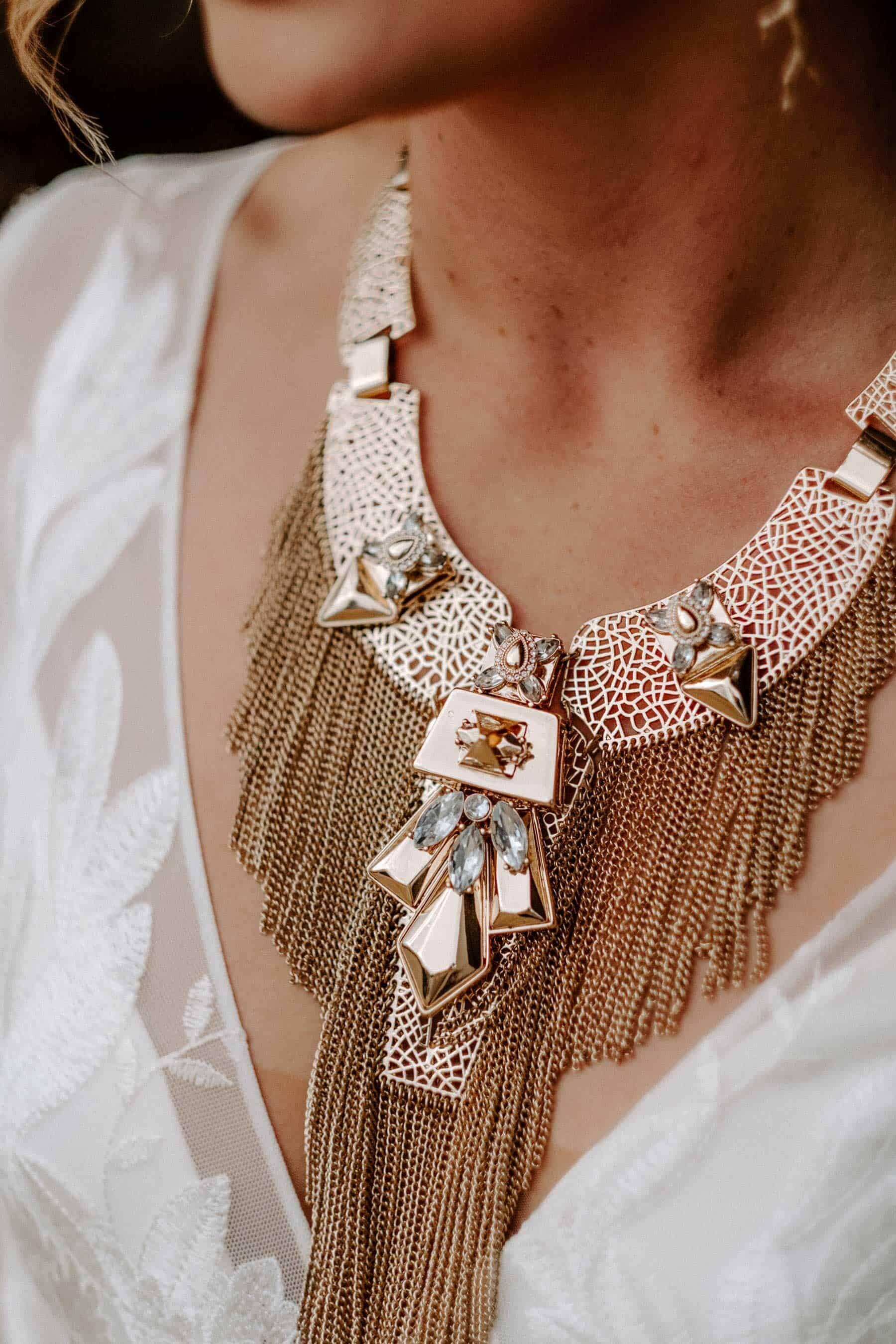 chunky gold boho statement necklace