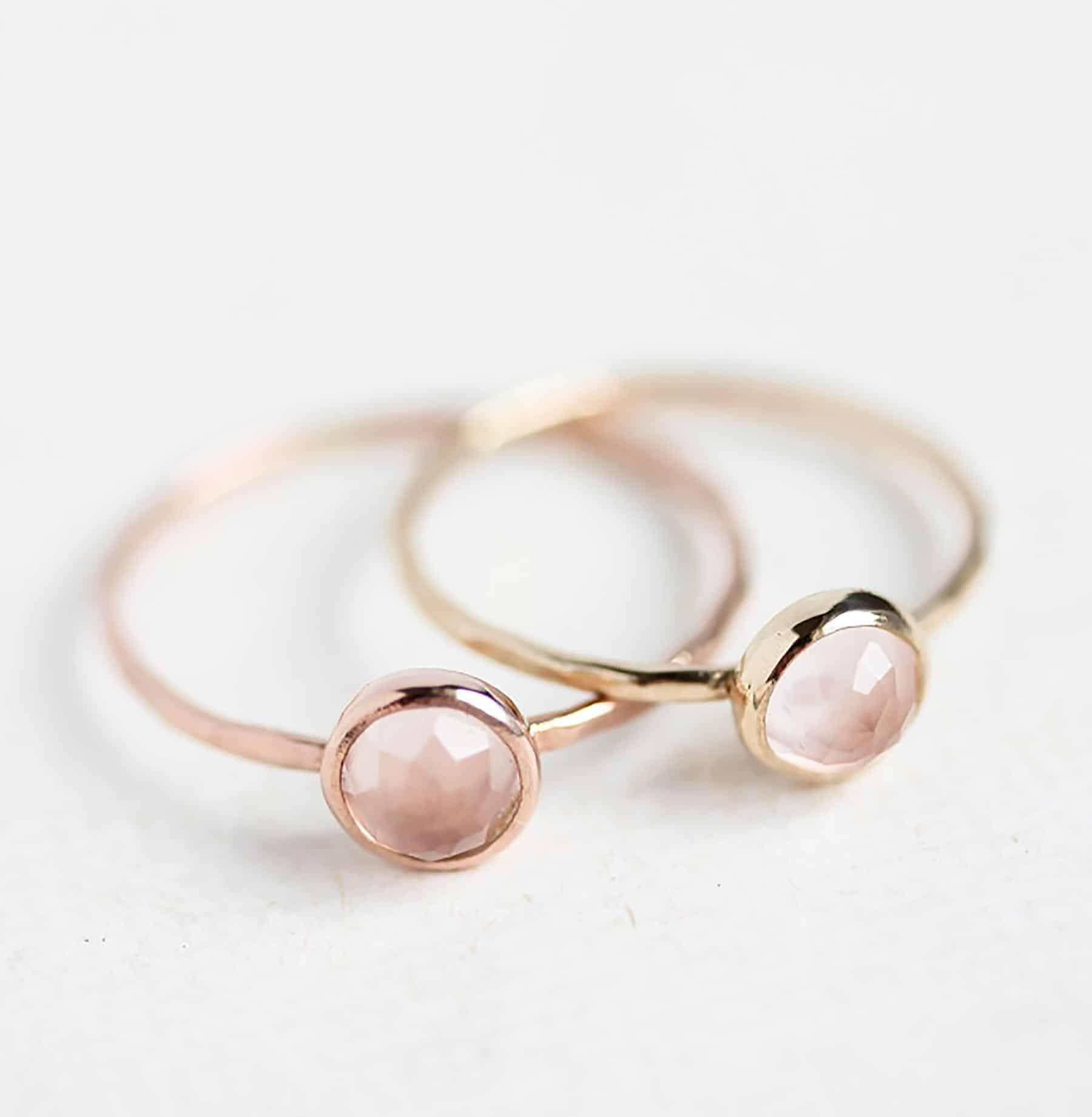 dainty rose quartz ring