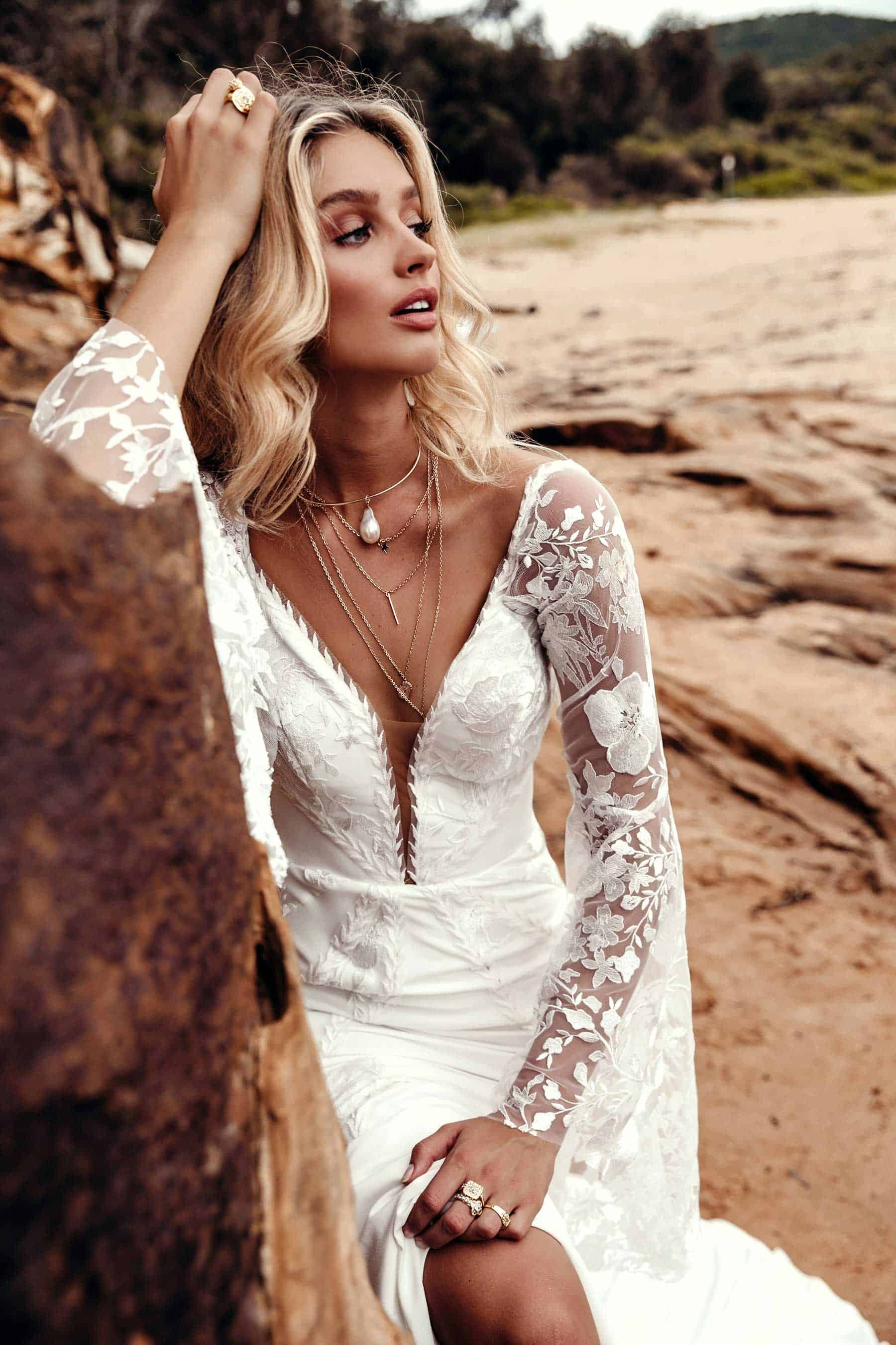 boho lace wedding dress with bell sleeves