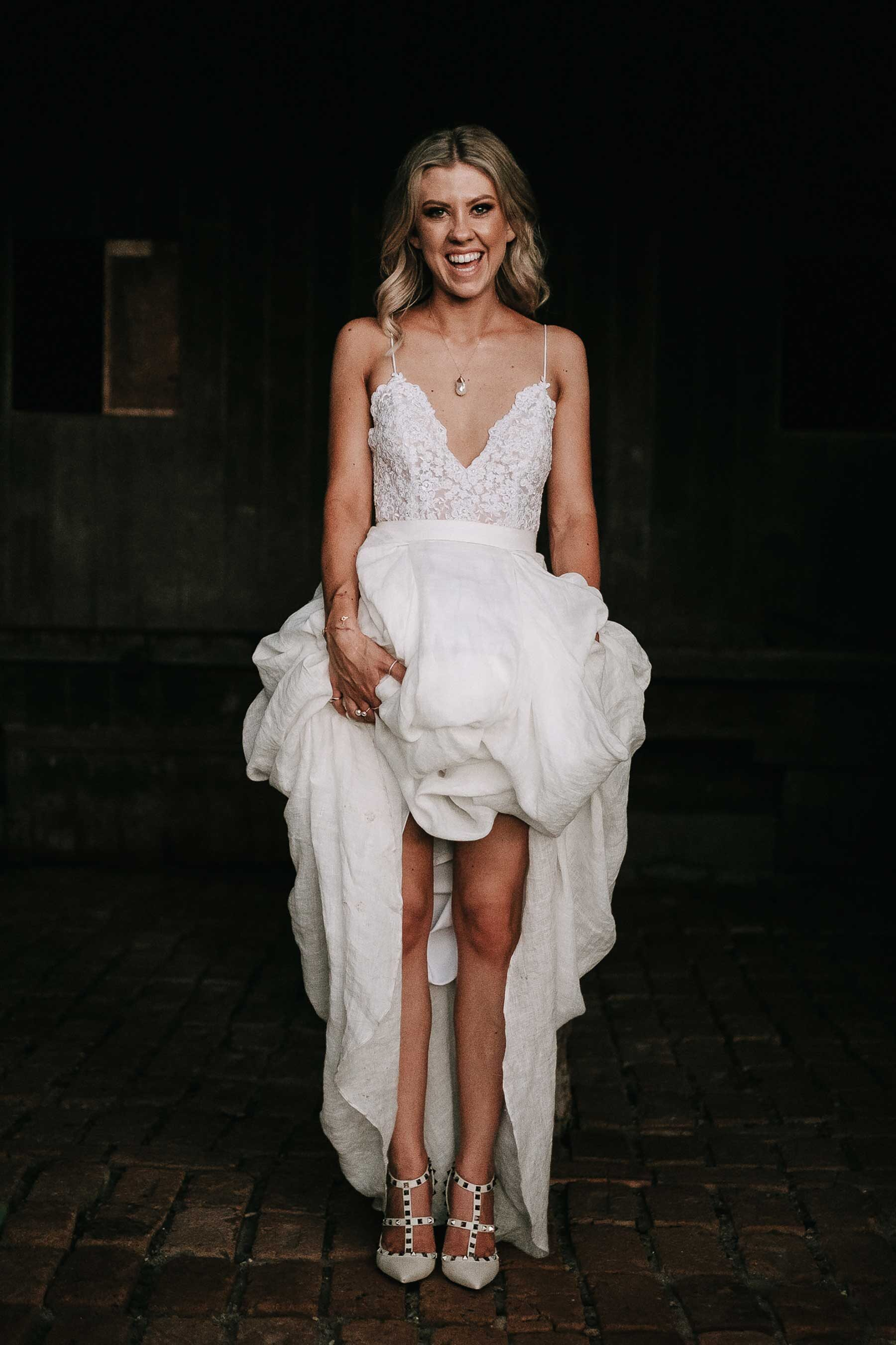 lace wedding dress with shoestring straps