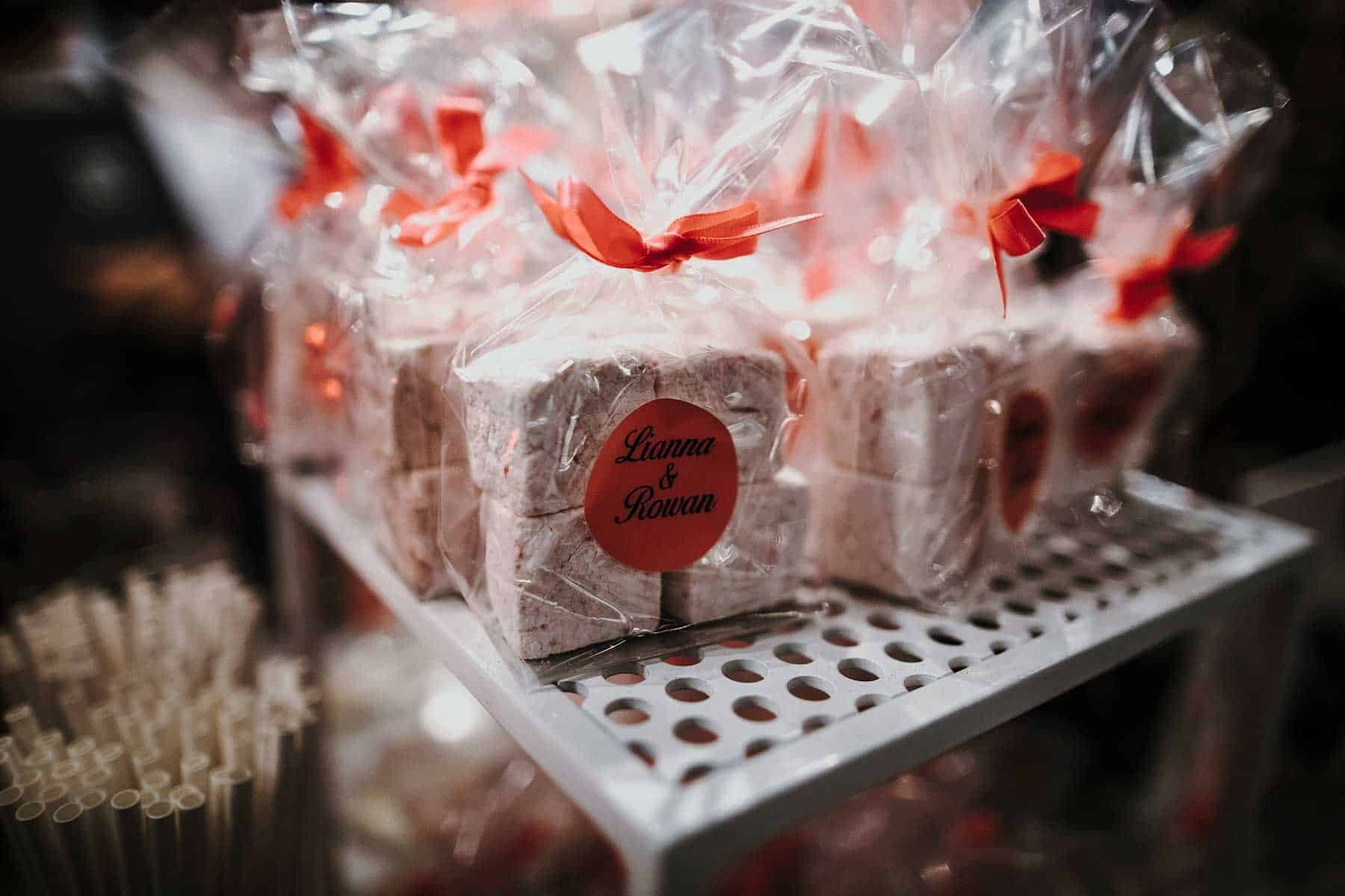 handmade marshmallow wedding favours
