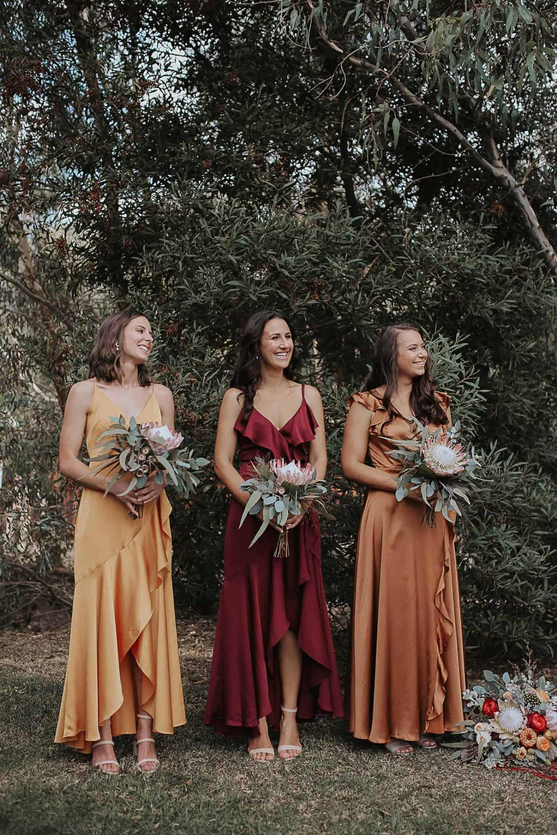 long bridesmaid dresses in autumn tones