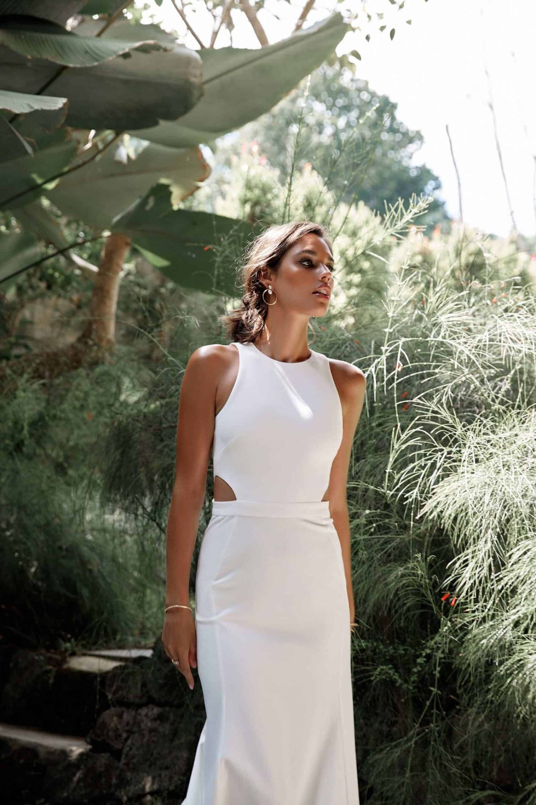 simple wedding dress with bodice cut-out
