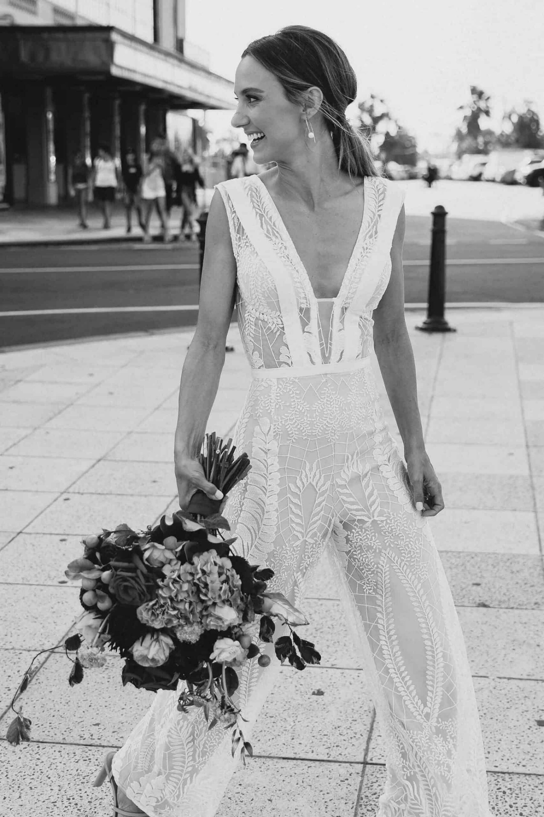 modern lace bridal jumpsuit by Georgia Young