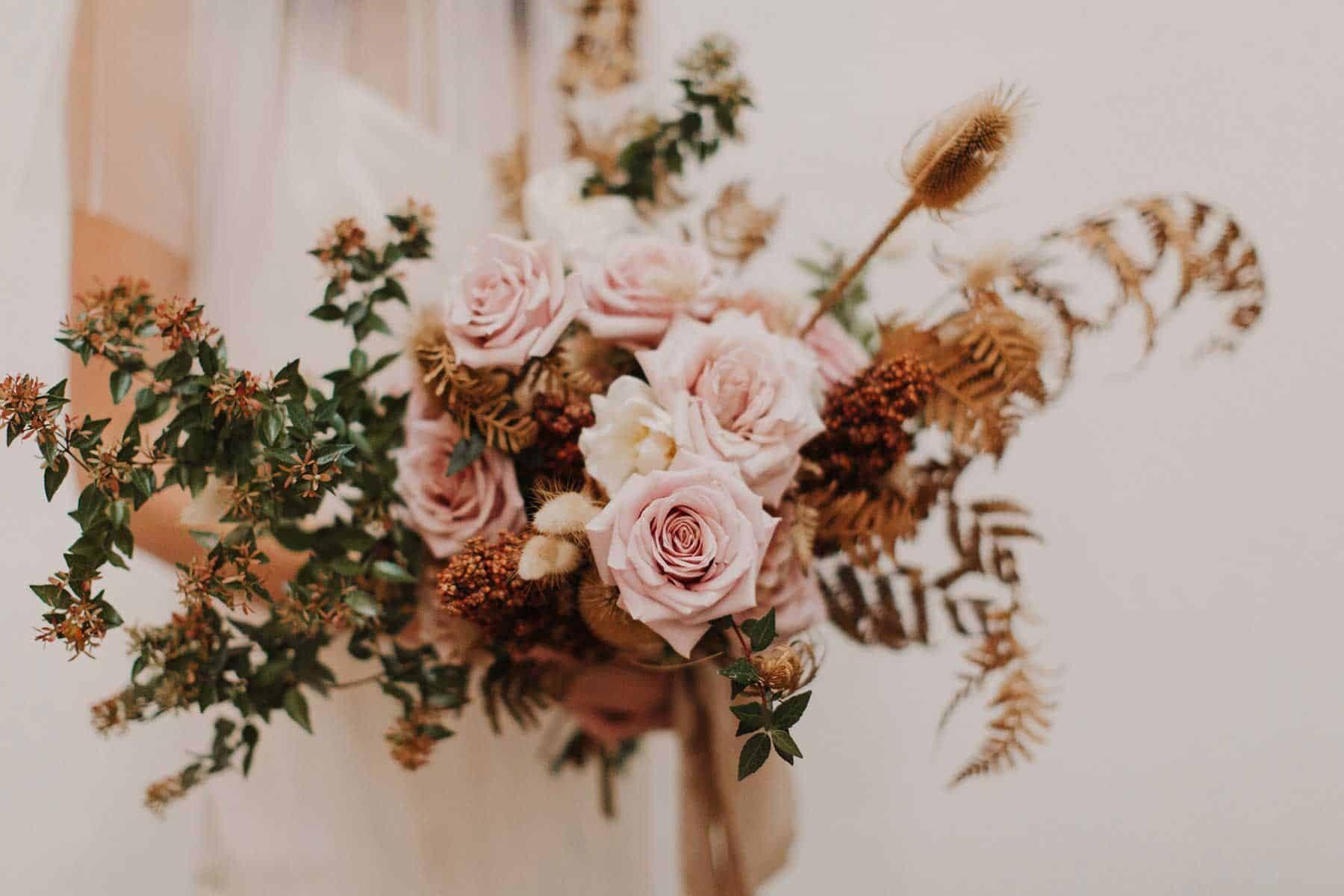 unstructured blush bridal bouquet