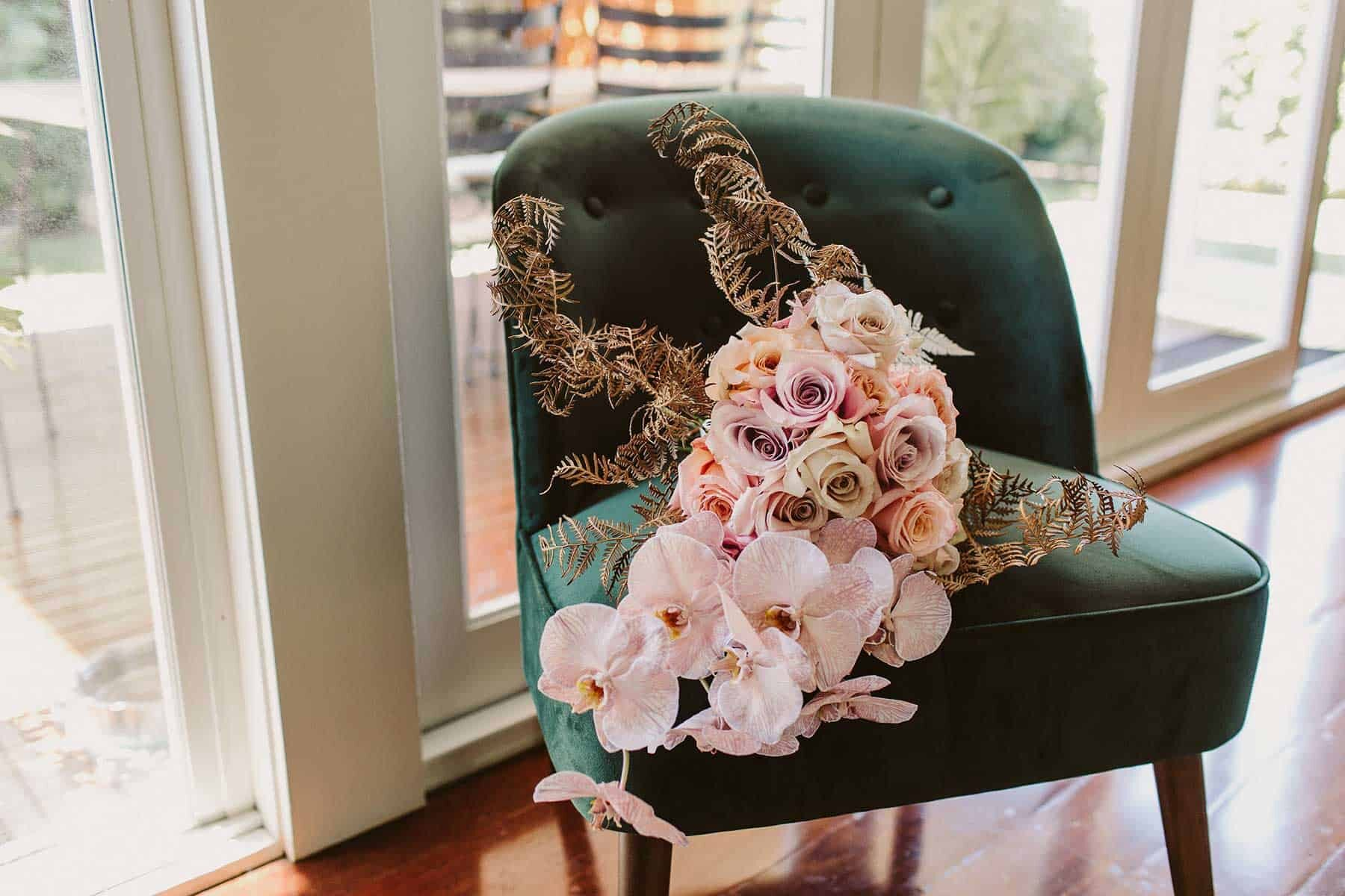 blush bridal bouquet with orchids