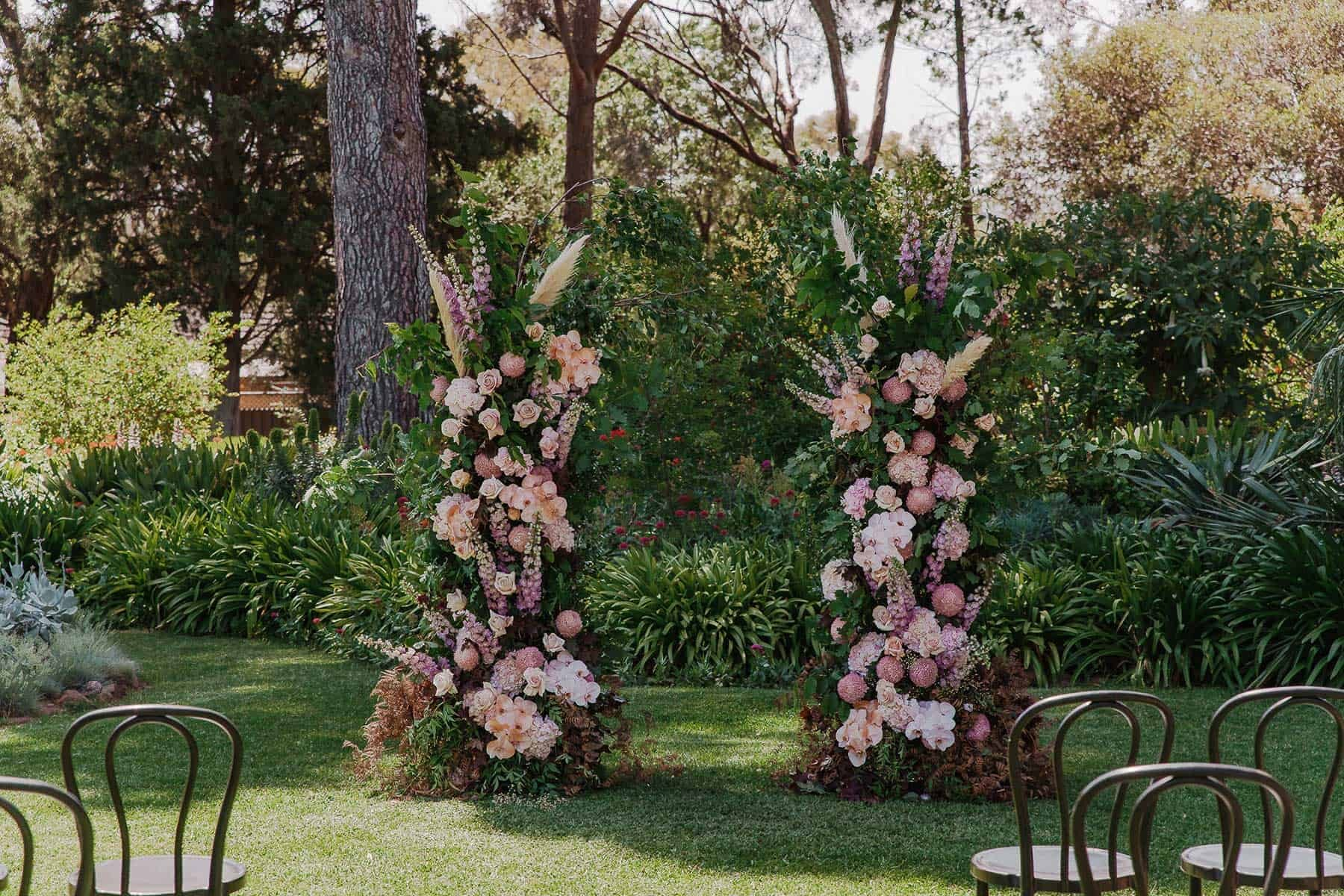 blush and lilac floral wedding arbour