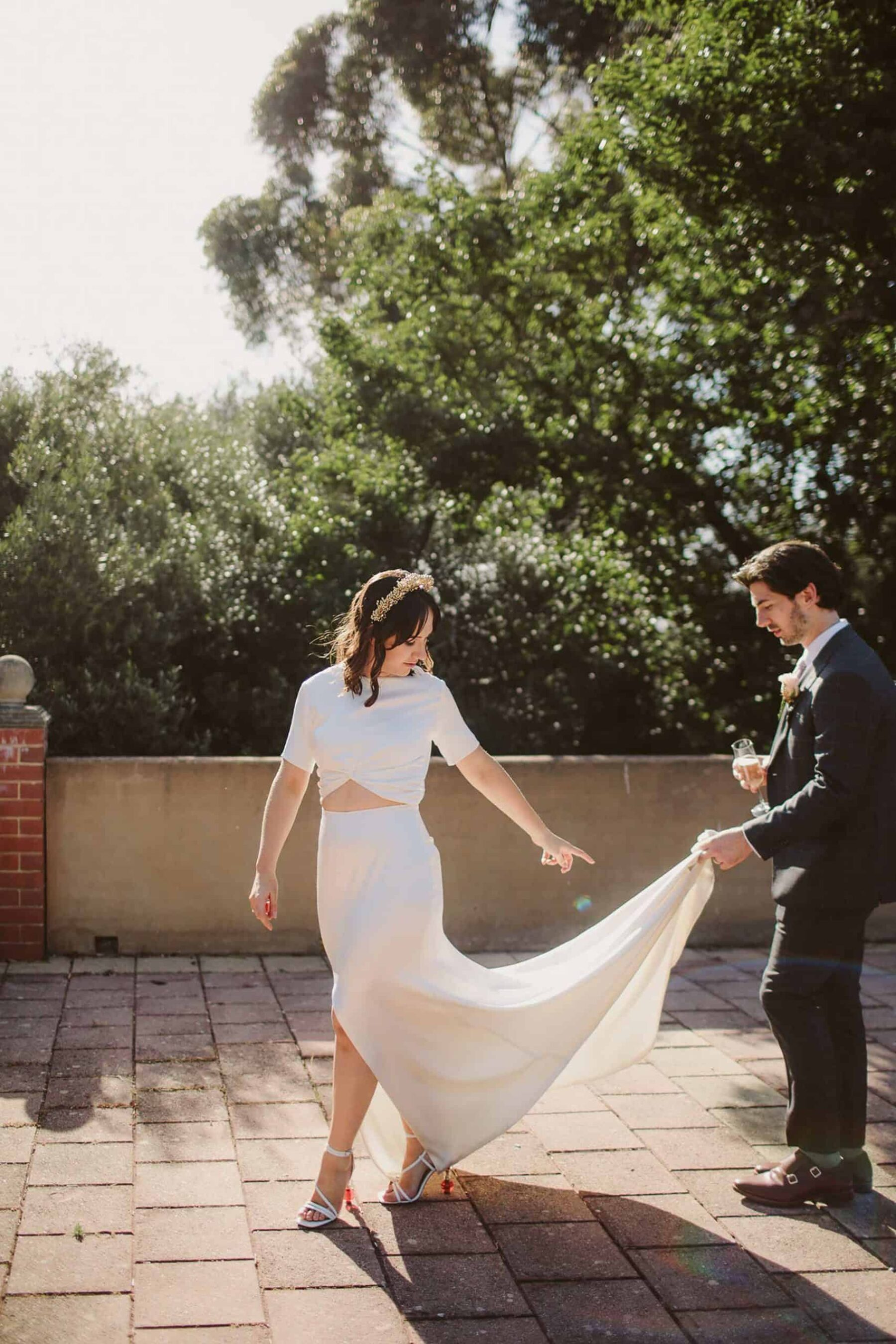 simple, modern two-piece wedding dress