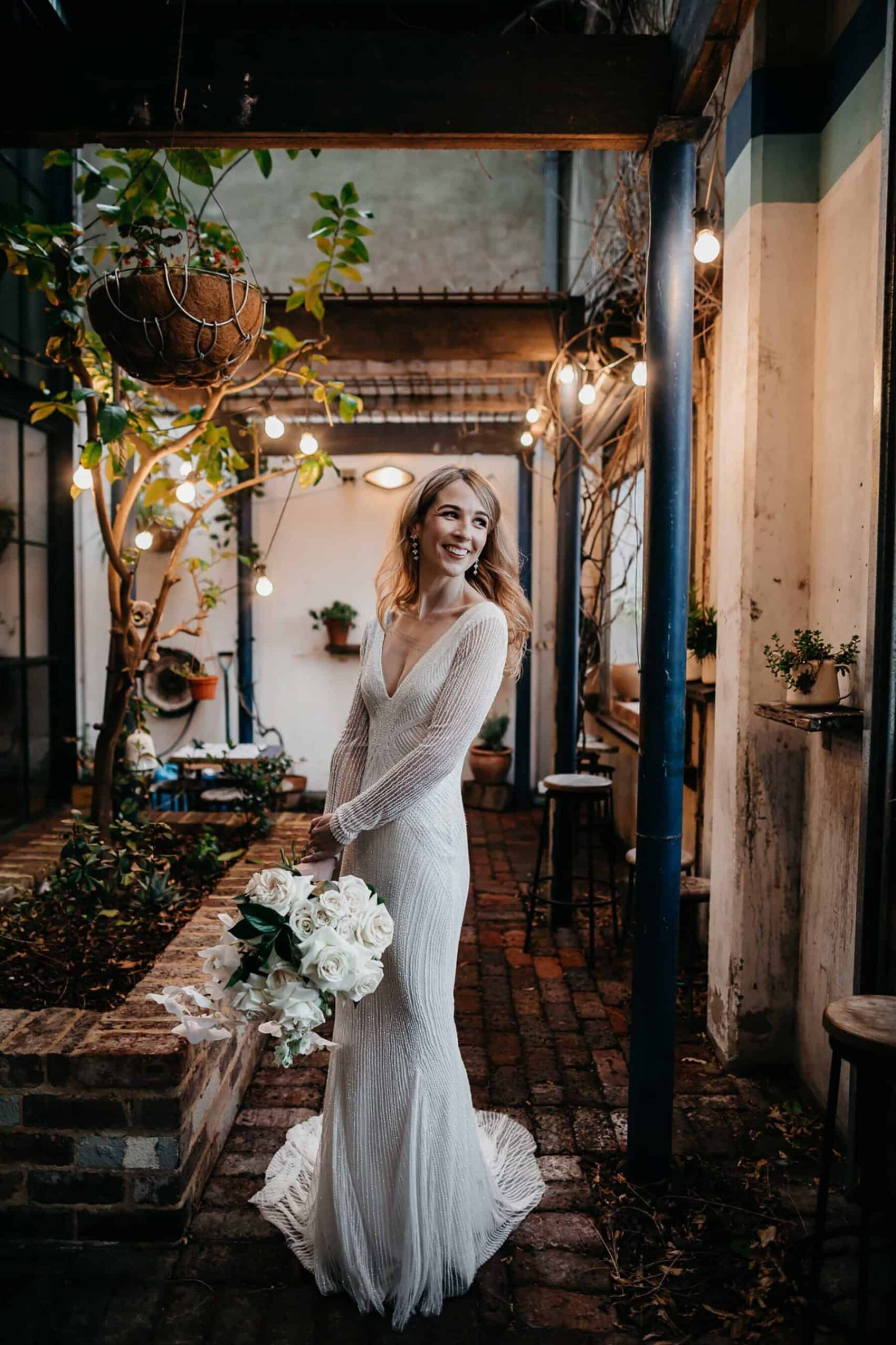 long sleeve beaded wedding dress by Rachel Gilbert