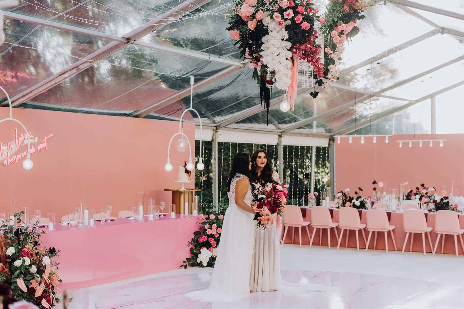 pink bridal table with pink chairs