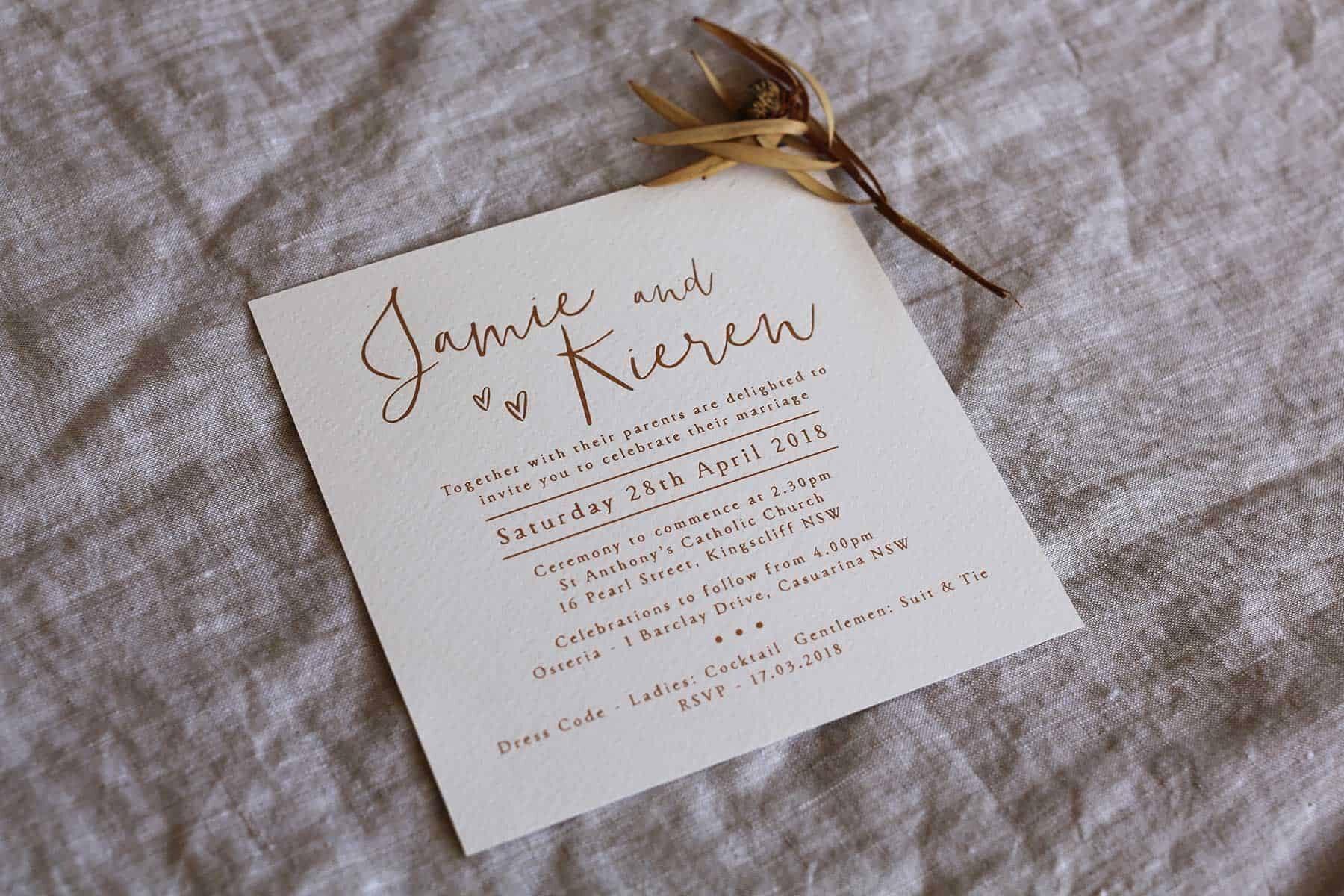minimalist modern watercolour wedding invitations