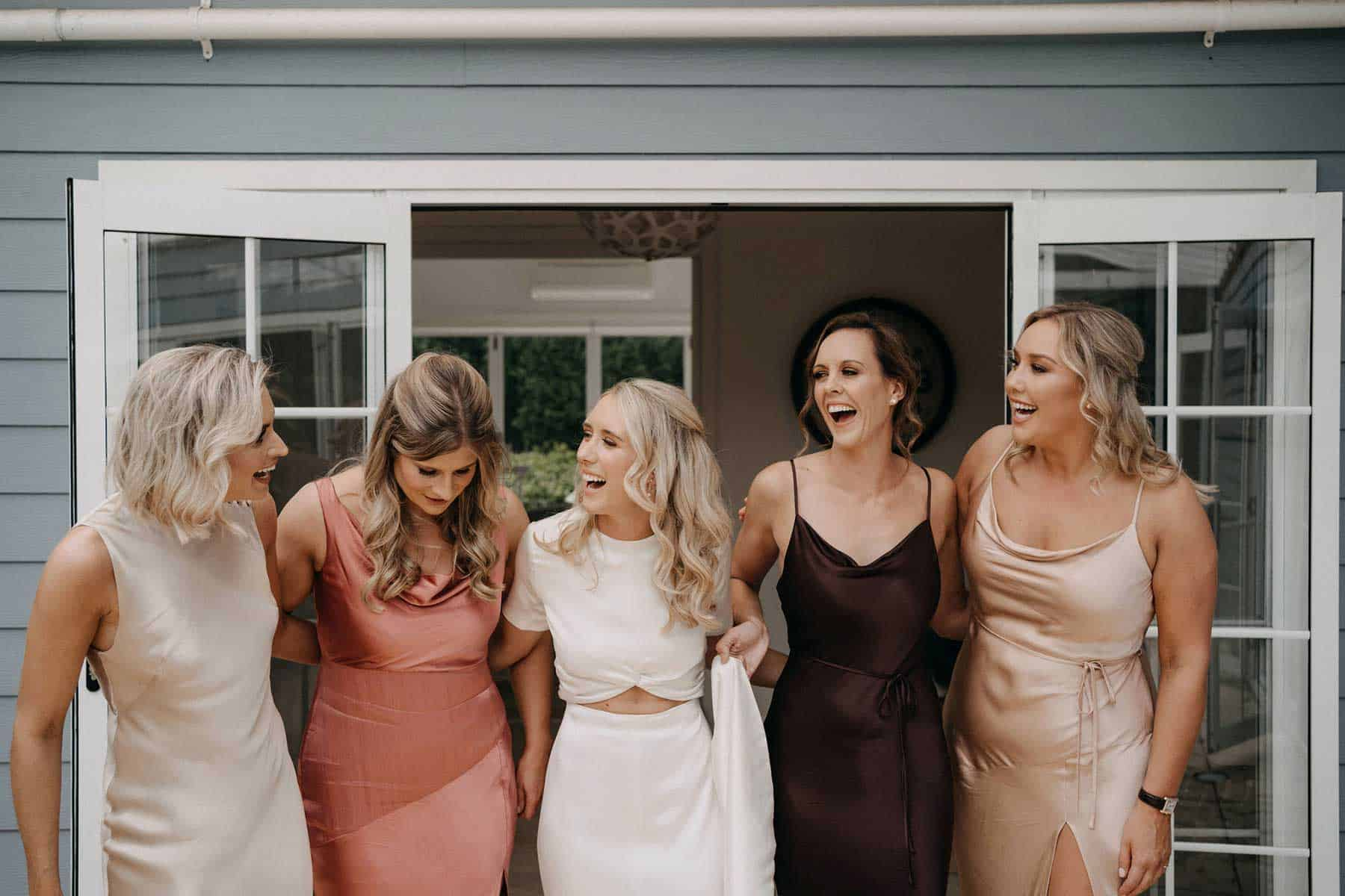 blush and neutral toned bridesmaid dresses