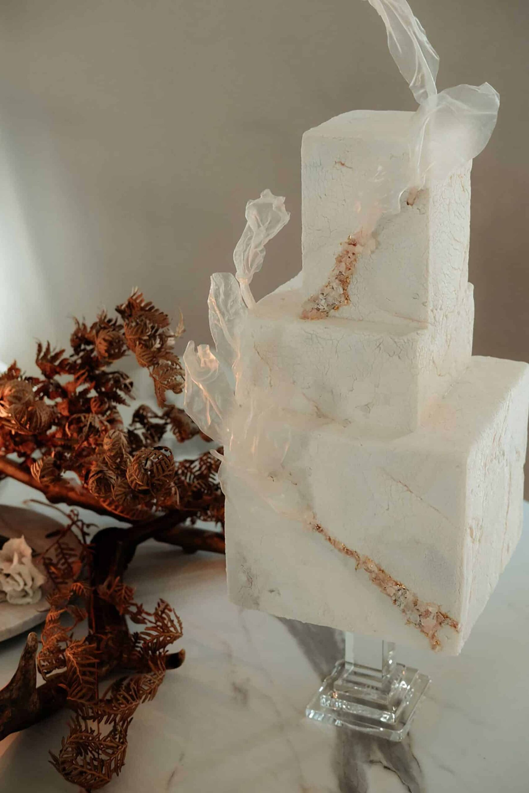 square quartz wedding cake