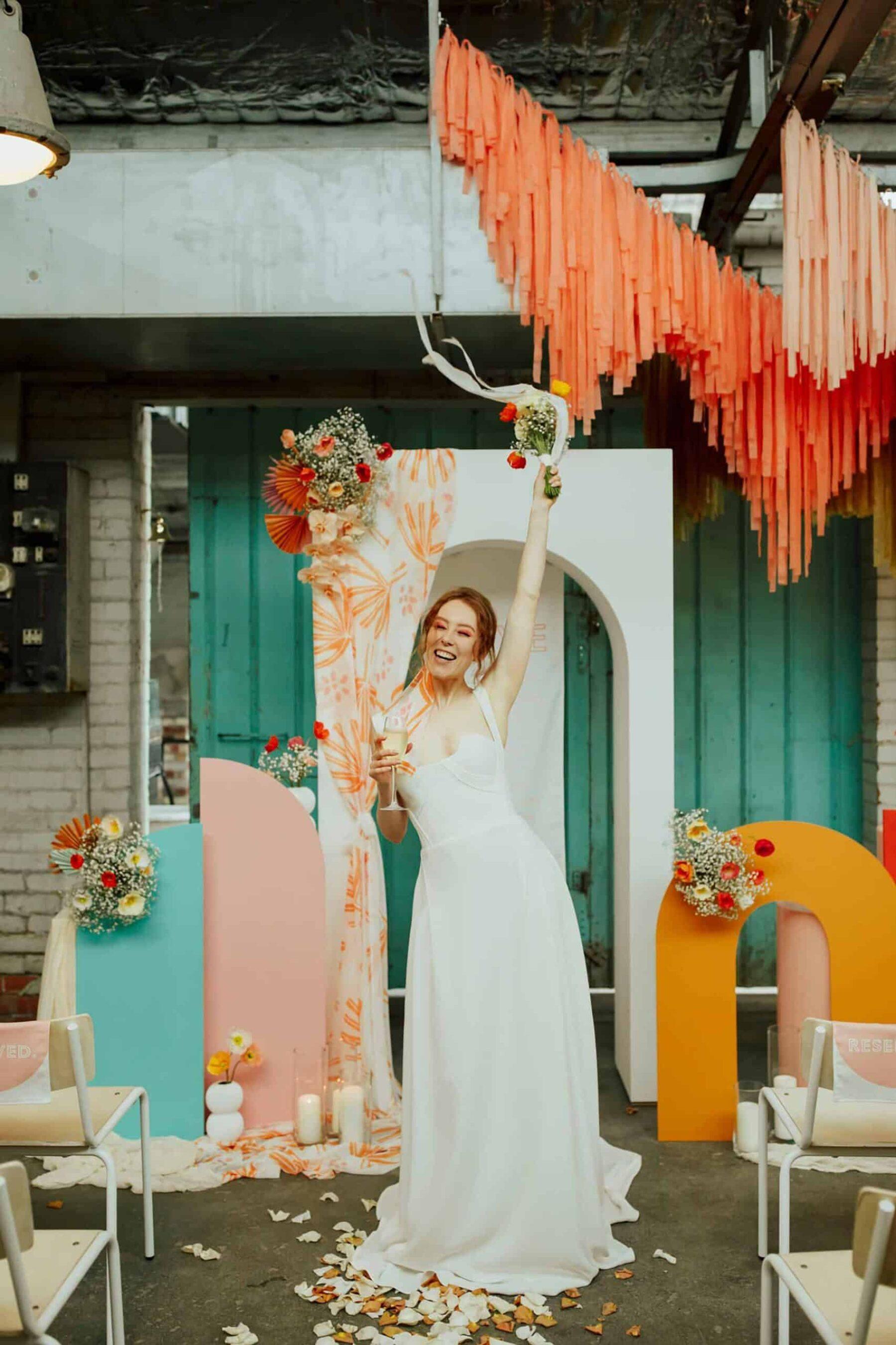 Colourful Melbourne warehouse wedding