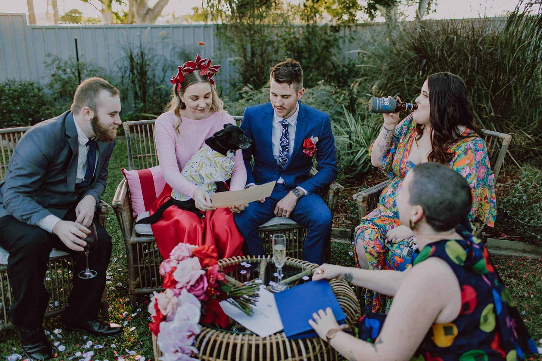 Modern and colourful backyard wedding in Brisbane