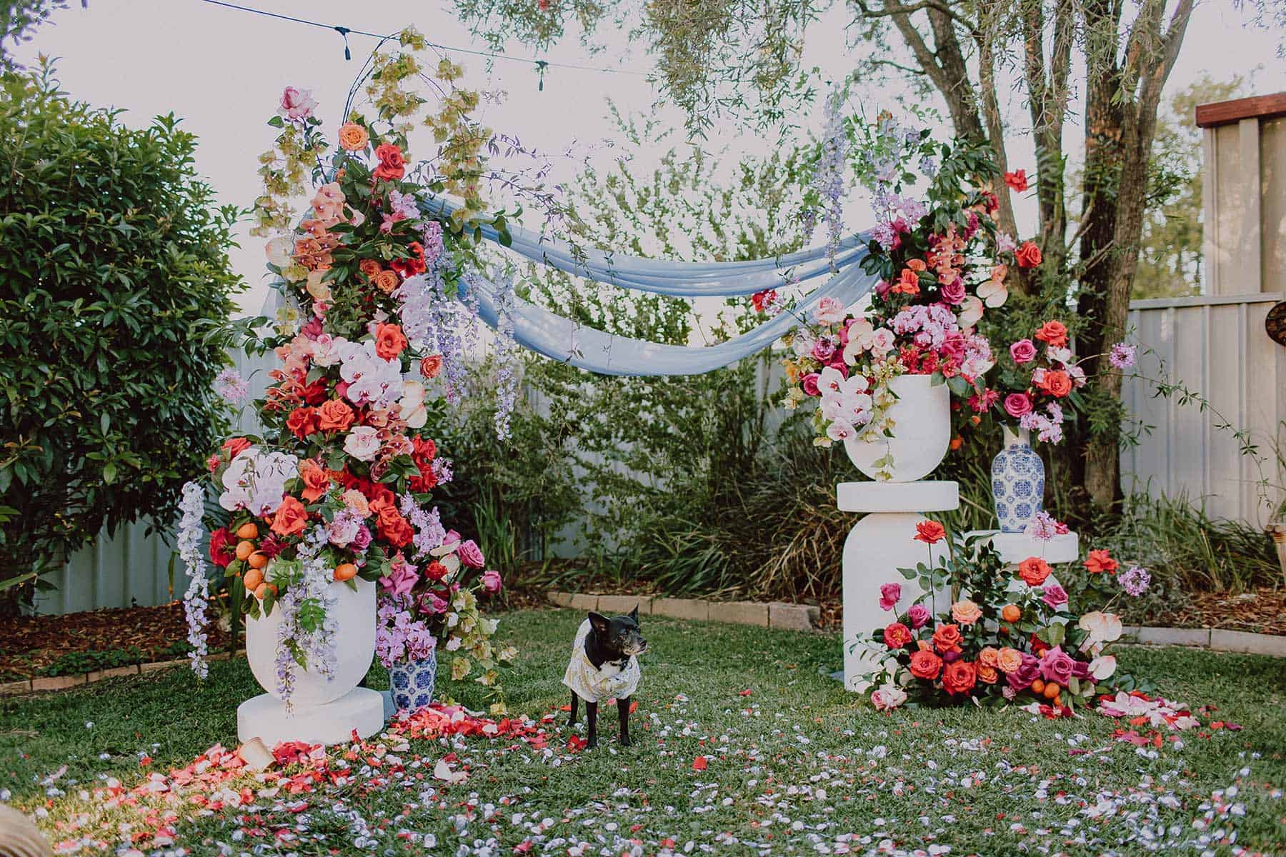 colourful floral wedding arch