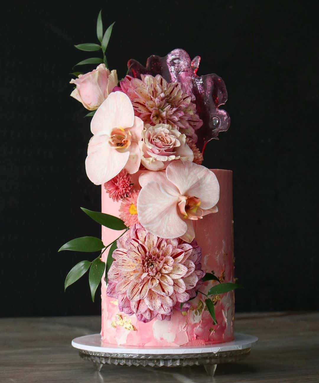 unique pink wedding cake